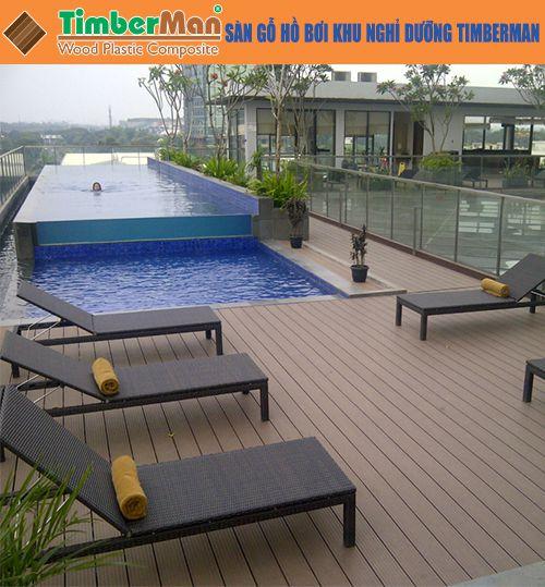 Sàn gỗ hồ bơi khu nghỉ dưỡng timberman