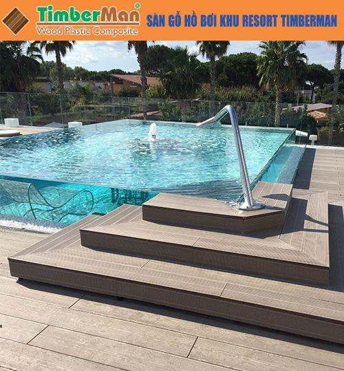 Sàn gỗ hồ bơi resort Timberman