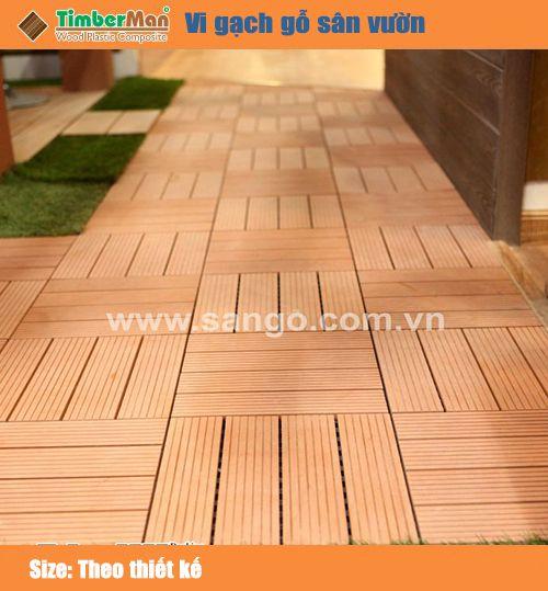 Vỉ gạch gỗ sân vườn