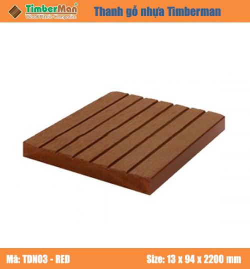 SÀN GỖ NGOÀI TRỜI HÀ NỘI TIMBERMAN - thanh gỗ nhựa TDN03-red