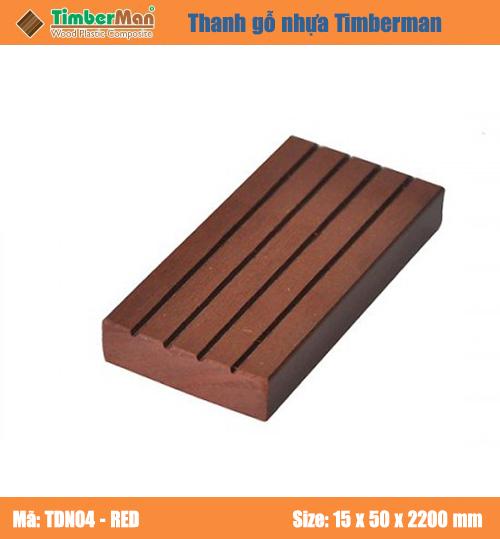 SÀN GỖ NGOÀI TRỜI HÀ NỘI TIMBERMAN - thanh gỗ nhựa TDN04 (red)